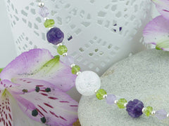 Crackle Necklace - Sterling Silver, Amethyst, Peridot, Crackle Quartz