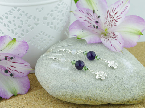Daisy Charm Earrings - Sterling Silver, Amethyst, Agate, Swarovski Crystals