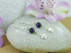 Jewellery by Linda Daisy Charm Earrings - Sterling Silver, Amethyst, Agate, Swarovski Crystals