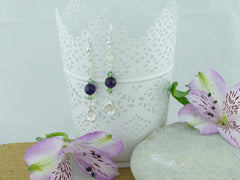 Daisy Charm Earrings - Sterling Silver, Amethyst, Agate and Swarovski Crystals