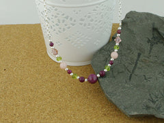 Desire Necklace - Ruby, Pink Opal, Peridot & Swarovski from Jewellery by Linda