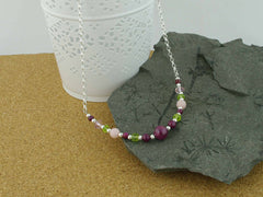 Desire Necklace - Ruby, Pink Opal, Peridot, Swarovski from Jewellery by Linda