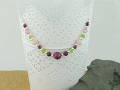 Desire Necklace - Ruby, Pink Opal, Peridot , Swarovski at Jewellery by Linda