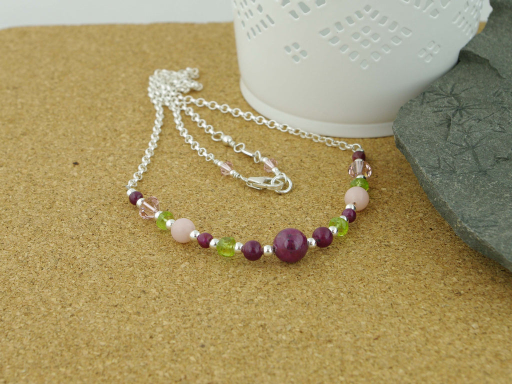 Desire Necklace - Ruby, Pink Opal, Peridot and Swarovski at Jewellery by Linda