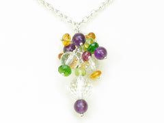Dew Necklace - Exclusive & Handmade with Yellow Sapphire, Red Spinel, Amethyst & Quartz