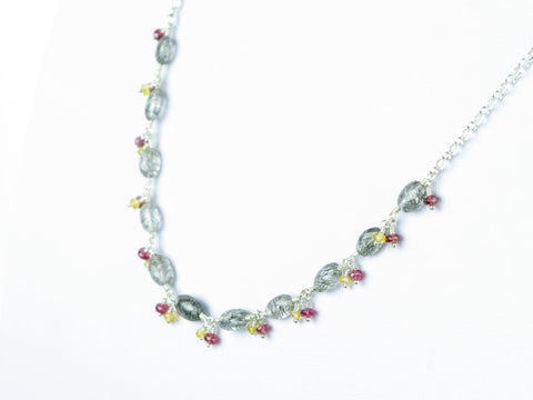 Elegance Necklace - Exceptional Tourmalinated Quartz, Yellow Sapphire, Red Spinel