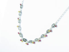 Elegance necklace. Rutile quartz, yellow sapphire, red spinel, sterling silver.