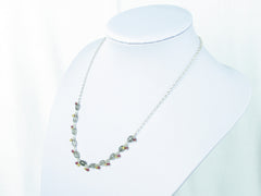 Elegance necklace. Rutile quartz, yellow sapphire, spinel, silver.