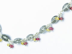 Elegance necklace. Exceptional rutile quartz, yellow sapphire, red spinel, sterling silver.