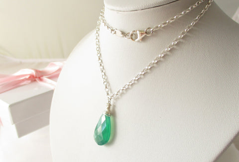 Envy Necklace - Green Quartz & Sterling Silver