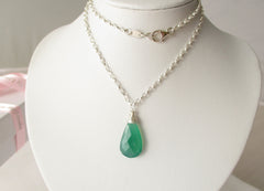 Envy Necklace - Green Quartz on Sterling Silver