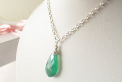 Envy Necklace - Green Quartz, Sterling Silver
