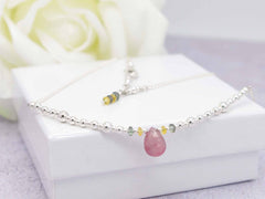 Pink Drop Sapphire - Fancy Sapphire and Sterling Silver Necklace