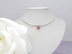 Pink Drop Sapphire - Fancy yellow and green Sapphire Sterling Silver Necklace