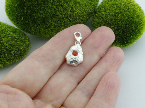 Fire Opal Solid Sterling Silver Precious Pebble Charm