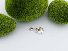 Fire Opal Solid Silver Precious Pebble Charm