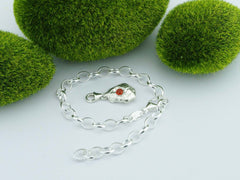 Fire Opal Solid Sterling Silver Pebble Charm