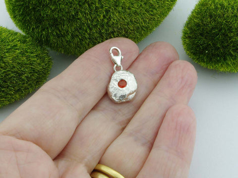 Fire Opal 2 Solid Sterling Silver Precious Pebble Charm