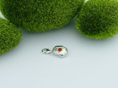 Fire Opal 2 Solid Silver Precious Pebble Charm