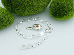Fire Opal 2 Solid Sterling Silver Pebble Charm