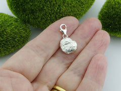 Fire Opal 2 Solid Sterling Silver Precious Pebble Charm reverse
