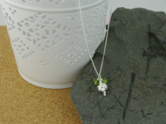 Silver Flower Bead Necklace and Peridot