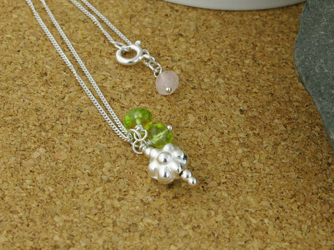 Silver Flower Bead Necklace with Peridot