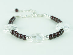 Flower Power Bracelet - Garnet, Quartz Flowers & Sterling Silver