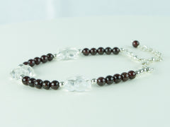 Flower Power Bracelet - Garnet, Quartz Flowers and Sterling Silver