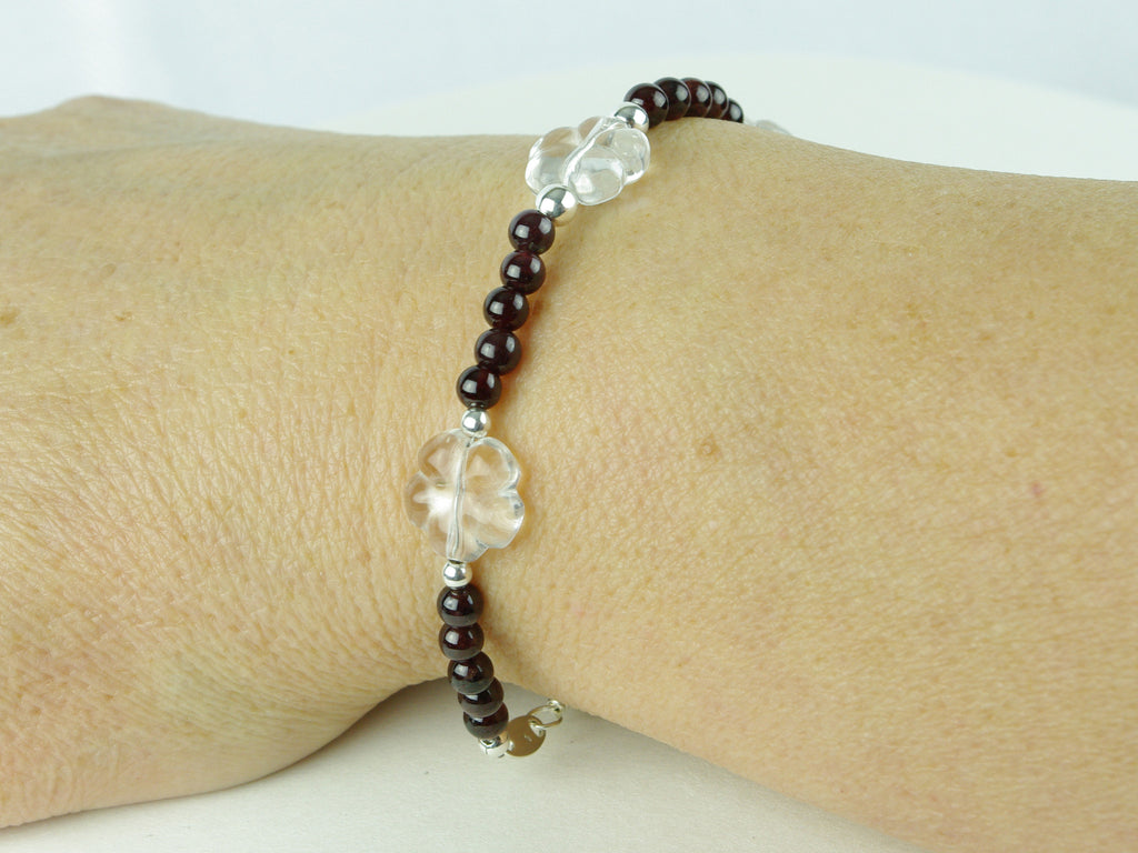 Flower Power Bracelet - Garnet, Quartz Flowers, Sterling Silver shown as worn