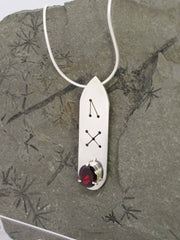 Garnet Oval Runic Sterling Silver Necklace gem closeup