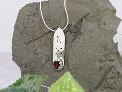 Garnet Oval Runic Sterling Silver Necklace