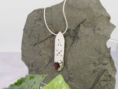 Garnet Oval Runic Sterling Silver Pendant Necklace