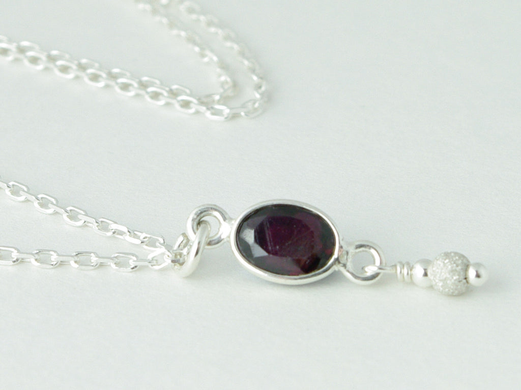 Garnet Delight Necklace - Dainty faceted drop of Garnet & Sterling Silver