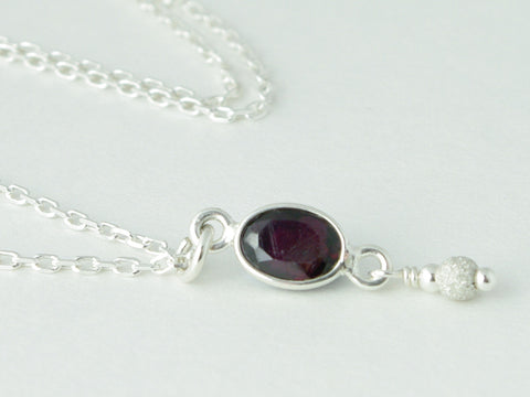 Garnet Delight Necklace - Dainty faceted drop of Garnet accented with Sterling Silver