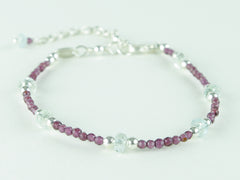 Grape Bracelet - Aquamarine, Garnet & Sterling Silver