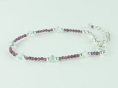 Grape Bracelet - Aquamarine & Garnet with Sterling Silver