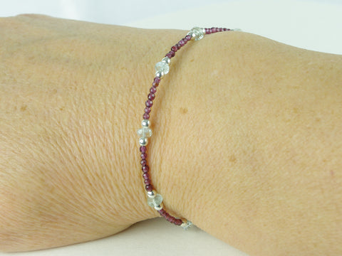 Grape Bracelet - Aquamarine, Garnet, Sterling Silver