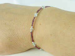 Grape Bracelet - Aquamarine, Garnet, Sterling Silver as worn