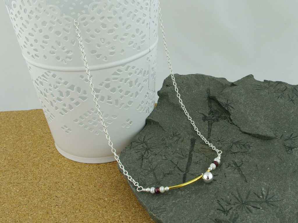 Fidget Necklace - Sterling Silver - Having a Ball - Pearl, Ruby. Jewellery by Linda