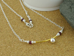 Fidget Necklace - Having a Ball - Pearl, Ruby & Sterling Silver - Jewellery by Linda