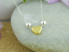 Heart of Gold Sterling Silver Jewellery by Linda Necklace