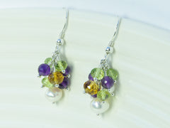 Helena Earrings - Exclusive & Handmade with Amethyst, Peridot and Citrine