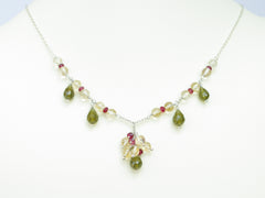 Hermia Necklace - Exclusive & Handmade with Vesuvianite, Citrine & Red Spinel