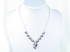 Hippolyta Necklace - Ruby, Garnet, Amethyst, White Topaz, Red Spinel on Sterling Silver