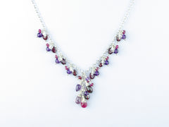 Hippolyta Necklace - Ruby, Garnet, Amethyst, White Topaz, Red Spinel with Sterling Silver