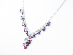 Hippolyta Necklace - Ruby, Garnet, Amethyst, White Topaz, Red Spinel, Sterling Silver