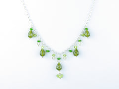Apple Blossom Necklace - Vesuvianite, Peridot, Russian Diopside, Scapolite on Sterling Silver