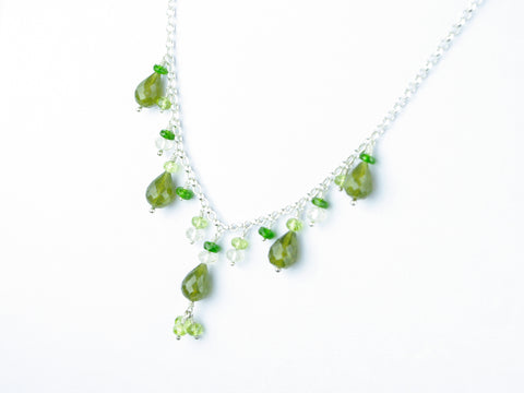 Apple Blossom Necklace - Vesuvianite, Peridot, Russian Diopside, Scapolite, Sterling Silver