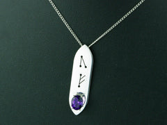 Amethyst Runic Sterling Silver Necklace Step Cut